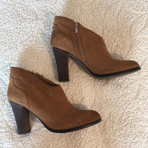 Crown Vintage Cognac Suede Stacked Heel Ankle Boot